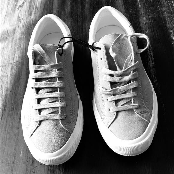 Zara Men Leather Vintage Sneakers Grey
